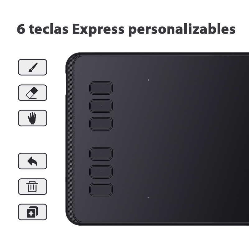 جهاز لوحي رقمي للقلم مقاس 6 بوصات من HUION H640P جهاز لوحي للرسم بمستويات ضغط 8192 قلم سلبي مع بطارية مجانية للألعاب OSU