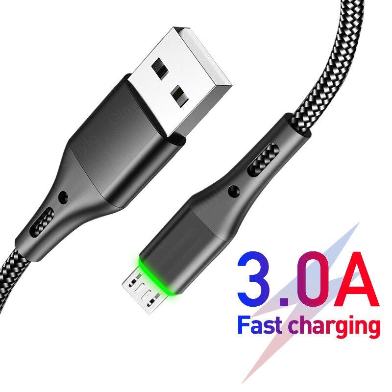 1m 2m 3m micro cabo usb cabo de dados de carregamento rápido carregador adaptador para samsung s9 xiaomi huawei android telefone microusb cabo fio