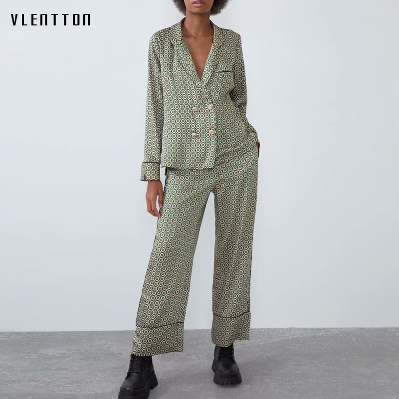 Autumn Print Two Piece Set Women Pearls Double Breasted Long Sleeve Shirt Tops+Pants Suit Casual Female Trouser 2 Pieces Sets