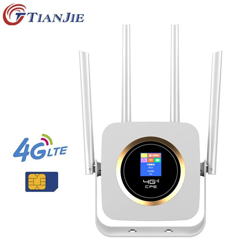 TianJie 4G Lte Router Sim CPE 4G Modem Mobile Hotspot Wireless Wifi Broadband 4 Wifi Antenna Ap Wi Fi Router Universe Gateway