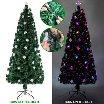 6FT Small Light Fiber Optic New Year Green Tree Christmas-Tree Artificial Xmas Tree For Home Office Decoration 230 Branches