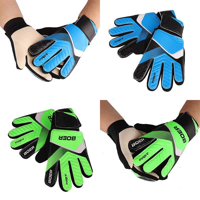 Full Finger Goalie Gloves Boys Girls Rubber Anti Slip Wrist Wrap Soccer Football Apparel Accessories For Goalkeeper For Children