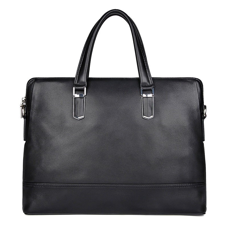Men Briefcases Genuine Leather Man Casual Business Travel 14″ Laptop Briefcase Bag Male Cow Leather Casual Tote Hand Bags