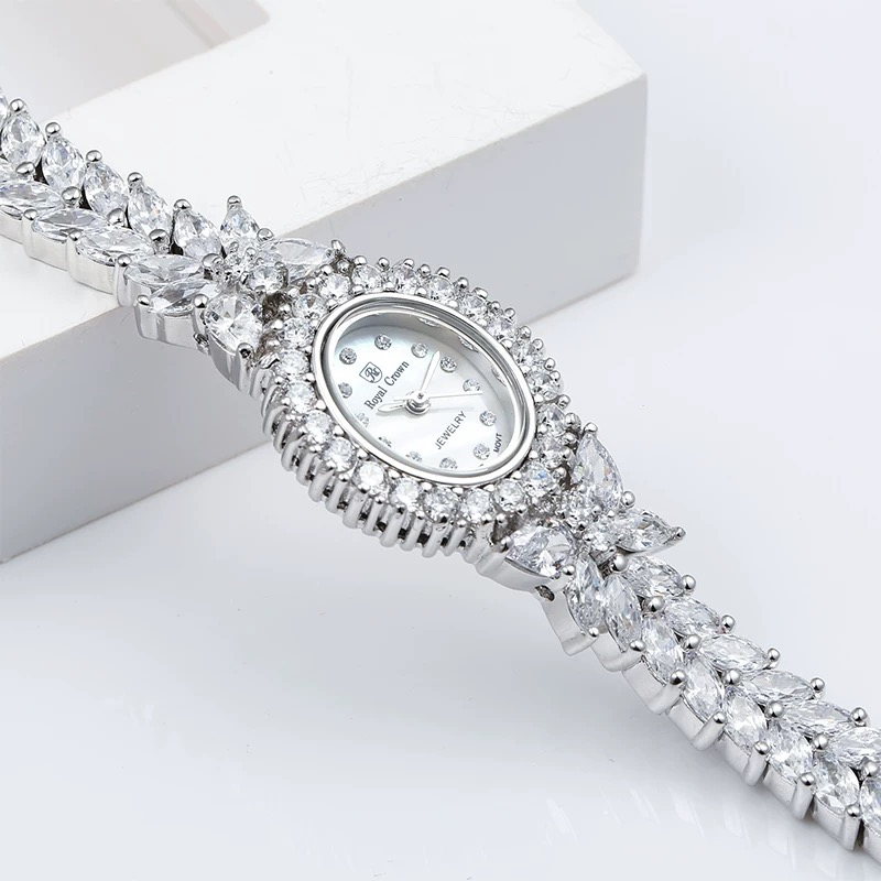 Herhome Qualtiy AAA Zircon Elements Leaf Austrian Crystal Bracelet Watch for Wedding Party Fashion Jewelry Made with Wholesale