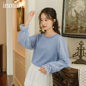 INMAN 2020 Autumn New Arrival Literary Round Collar Patchwork Mesh Lace Bubble Knit Pullover Sweater - discount item  64% OFF Sweaters