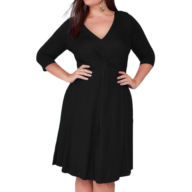 2020 Summer Women Solid Midi Dress Ladies Half Sleeve V-Neck Sexy Shirt Dresses Casual High Waist Robe Vestidos Mujer Plus Size