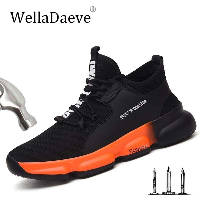 Men's Steel Toe Safety Shoes Light Breathable Outdoor Construction Protective Footwear Puncture Proof Work Sneaker Shoes For Men