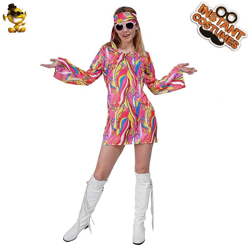 Women Adults Fancy 1960s Retro Party Dress Flower Hippy Hippie Costume Outfit