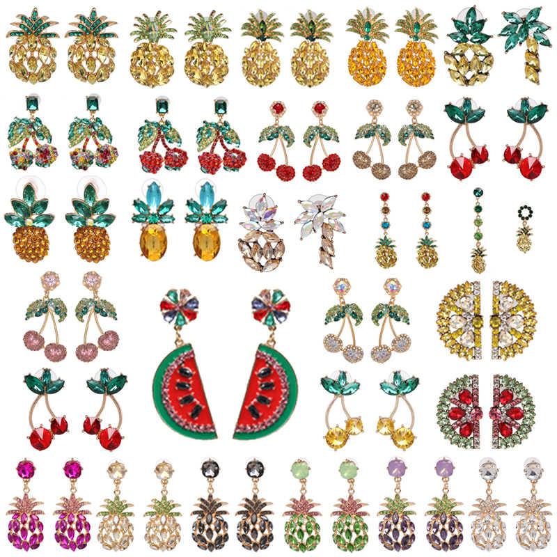 2019 ZA Cherry Pineapple Crystal Drop Dangle Earrings for Women Boho Rhinestone Statement Earring Fashion Jewelry Bijoux