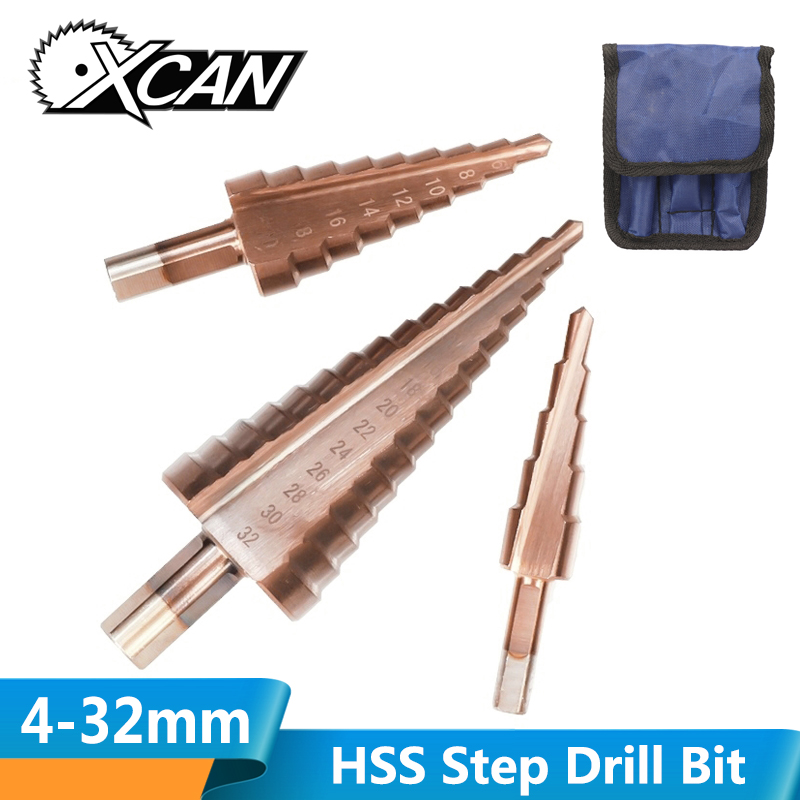 XCAN 4-12/20/32mm HSS TiCN Coated Step Drill Bit Spiral/Straight Groove Wood Metal Hole Drill Cutter Cone Drill Bit