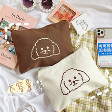 Cartoon Cute Puppy Printing Pencil Bag Canvas Simple Large Capacity Korea School Supplies Cosmetic Storage Kawaii Stationery