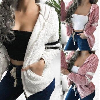 Women Fleece Autumn Jacket Winter Warm Hooded Fluffy Coat Popular Fluffy Long Sleeve Jacket Ladies Pocket Outerwear Zipper Coat