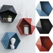 Nordic Living Room Wall-mounted Geometric Punch-free Wall Decoration Rack Decoration Shelf Storage Living Room Hexagon Bath F7Z6(China)