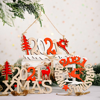 2021 Xmas Christmas Pendants Christmas Tree Decorations For Home Christmas Wooden Ornaments Elk Natal Santa Claus Kids Gift led light christmas tree star car wooden pendants ornaments xmas diy wood crafts kids gift for home christmas party decorations