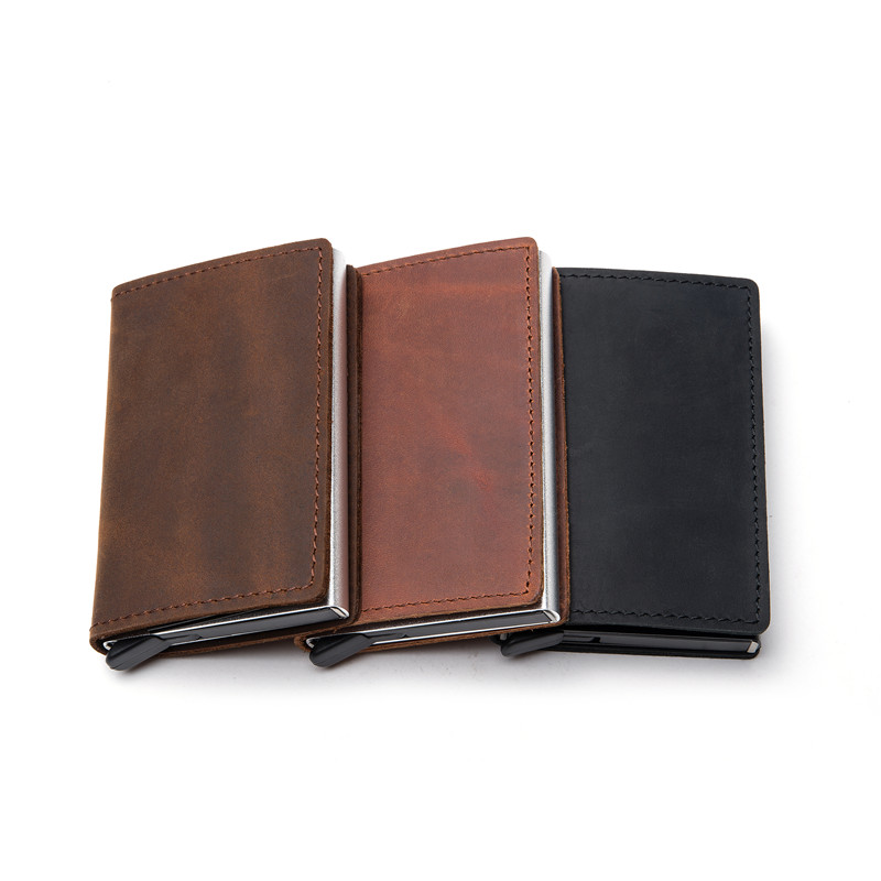 Zovyvol 2021 Genuine Leather Rfid Anti-Theft Credit Card Holder Aluminum Box Slim Clutch Pop-Up Smart Wallet For Business Men