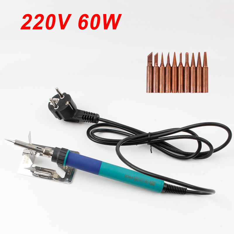 CXG 936D LCD Adjustable Temperature Digital Electric Soldering Station 220V 60W Internal Heating Replace HAKKO 936 10pcs Tips