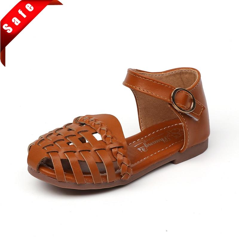 Anne ve Çocuk'ten Sandaletler'de Kızlar sandalet çocuk ayakkabı prenses tatlı ayak kapaklı Anti kick plaj sandaletleri yeni yürümeye başlayan çocuklar için büyük çocuk yumuşak yaz ayakkabı 21 35 title=