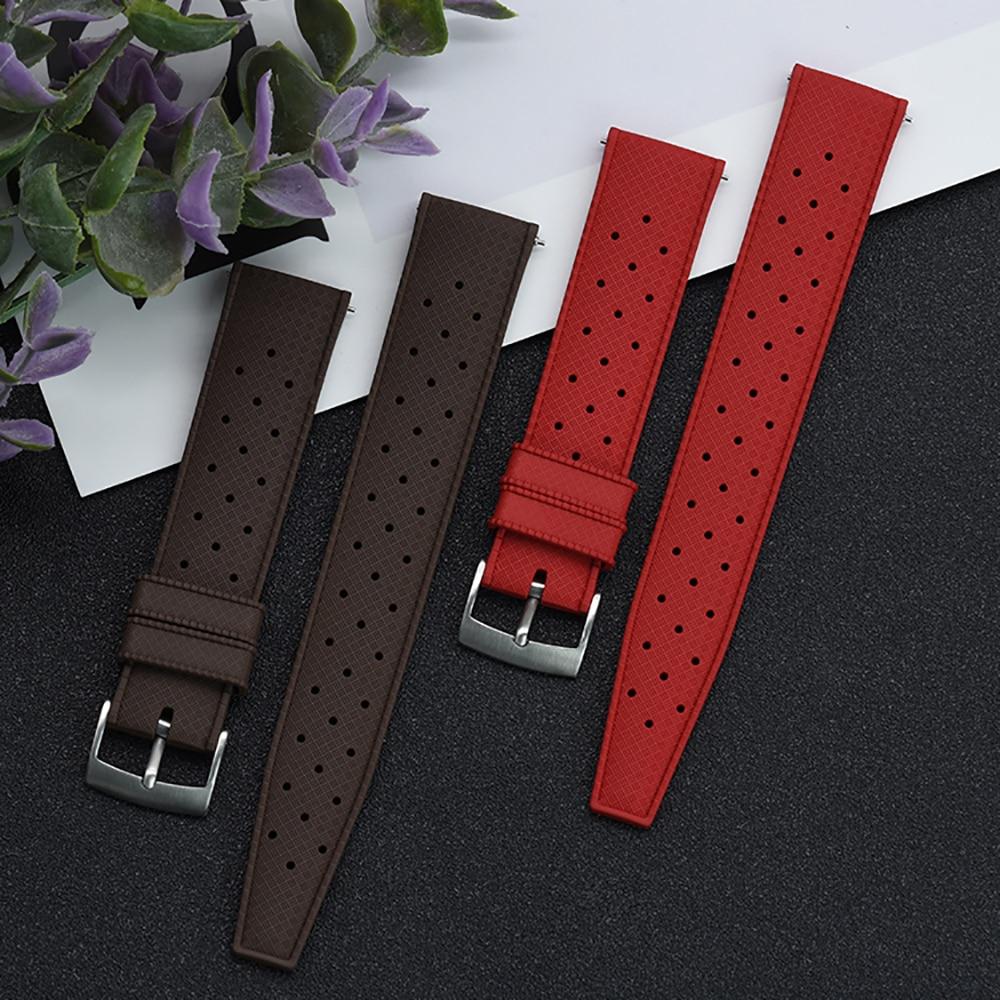 Премиум-класс фтор резиновый ремешок для часов 20 мм 22 мм тропический браслет быстросъемный бар ремешок для часов для мужчин каждый бренд ча...