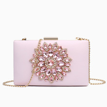 цена на WOMEN'S Bag 2020 New Style Luxury Diamond Evening Bag Sweet Ladies' Shoulder Chain Box Bag Fashion