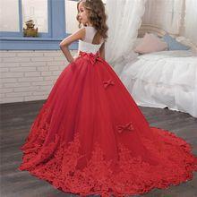 Элегантное рождественское платье принцессы Детские платья для девочек от 6 до 14 лет, новогодний карнавальный костюм детская одежда для первого причастия