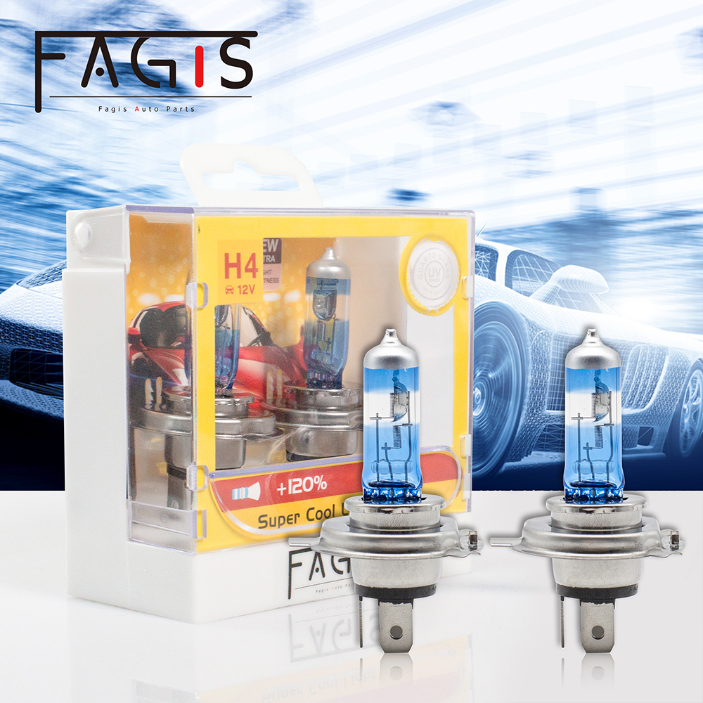 Fagis US Brand 2pcs <font><b>H4</b></font> HB2 P43T 9003 Blue 12V <font><b>60</b></font>/<font><b>55W</b></font> Super Bright White Car Headlight Bulb Light <font><b>Lamp</b></font> Clear Auto Halogen image
