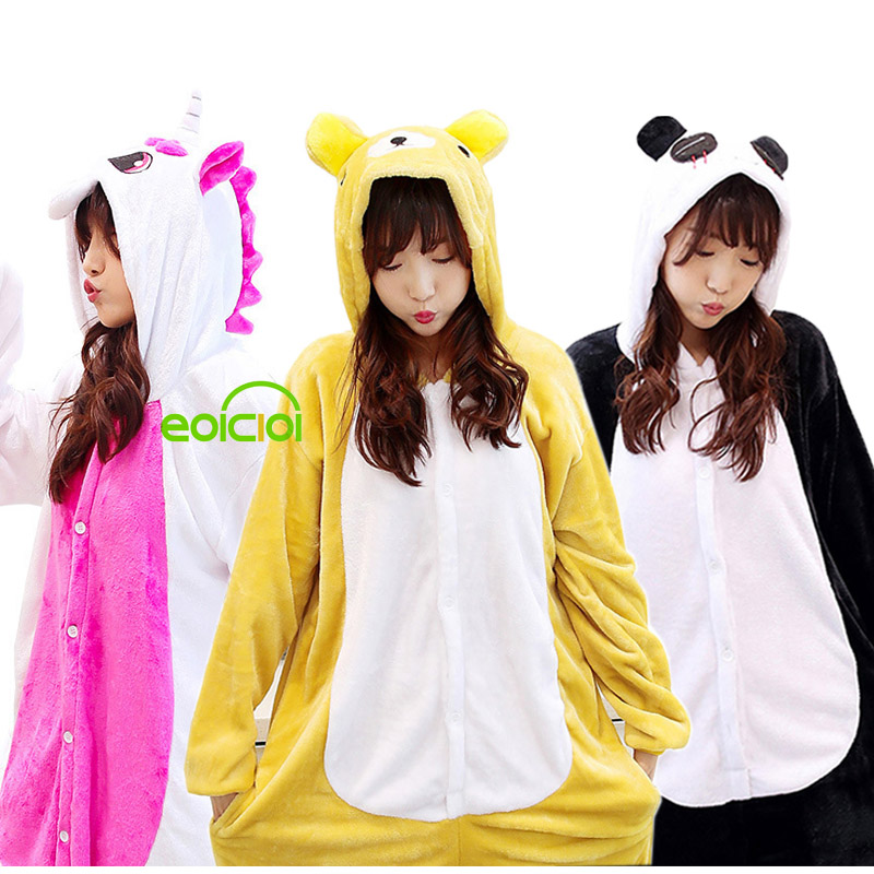 NEW Kids Kigurumi Unicorn Pajamas Winter Women Pegasus Stitch Sleepwear Cosplay Adult Baby Boys Girls Jumpsuit Hooded Pyjamas