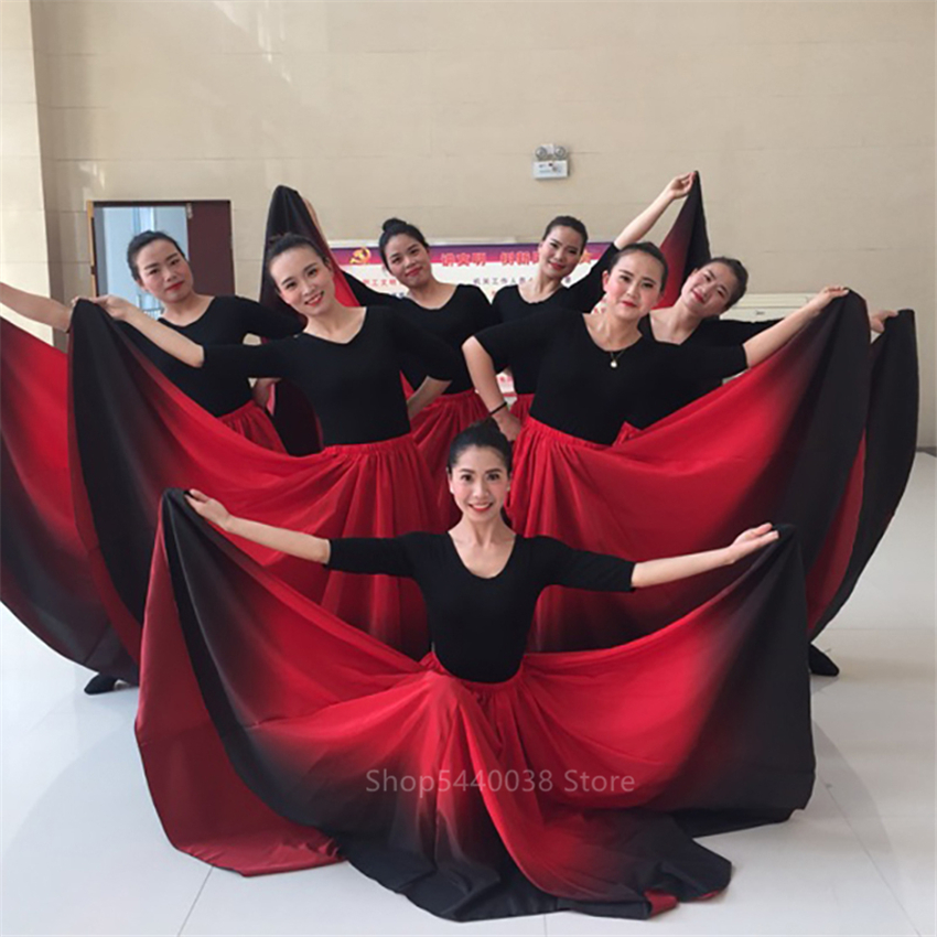 Flamenco Dance Skirt Spanish Dancing Performance Costume For Women Vestido Flamenco 90/180/270/360 Degree Classic Gypsy Dress