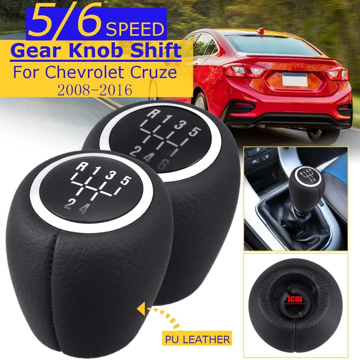 5/6 Speed Pu Leather MT Gear Shift Knob For <font><b>Chevrolet</b></font> <font><b>Cruze</b></font> 2008 2009 2010 <font><b>2011</b></font> 2012 2013 2014 <font><b>2015</b></font> 2016 Car Gear Shift Knob image