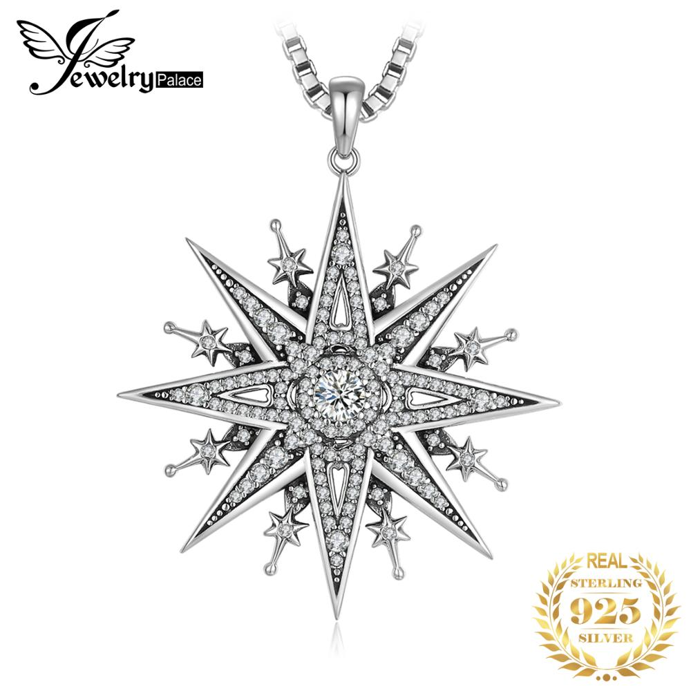 JewelryPalace Vintage Gothic Cubic Zirconia North Star Pendant Necklace Without a Chain 925 Sterling Silver Pendants for WomenNecklaces   -