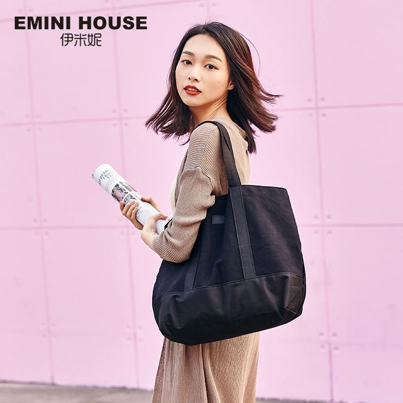 EMINI HOUSE Canvas Tote High Capacity Casual Shopping Bag Women Shoulder Bags Practical Women Handle Bag Fashion Lady Purse