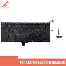 Full New A1278 Spanish Laptop keyboard For Macbook Pro 13 A1278 Spanish keyboard 2009 2010 2011 2012 year new for macbook pro 13 a1278 topcase palm rest keyboard backlit us uk euro eu german french danish russian spanish 2011 2012
