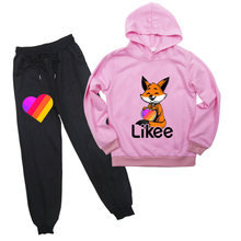 Likee casual clothing sets fox cat unicorn full sleeves hoodie