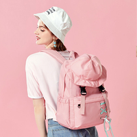 Pink Girl Cute Backpack with Fisherman Hat Leisure Lovely Both Shoulders Backpack Junior Primary Middle Schoolbags Bookbag