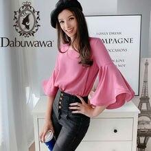 Dabuwawa элегантная шифоновая блузка для женщин с расклешенным