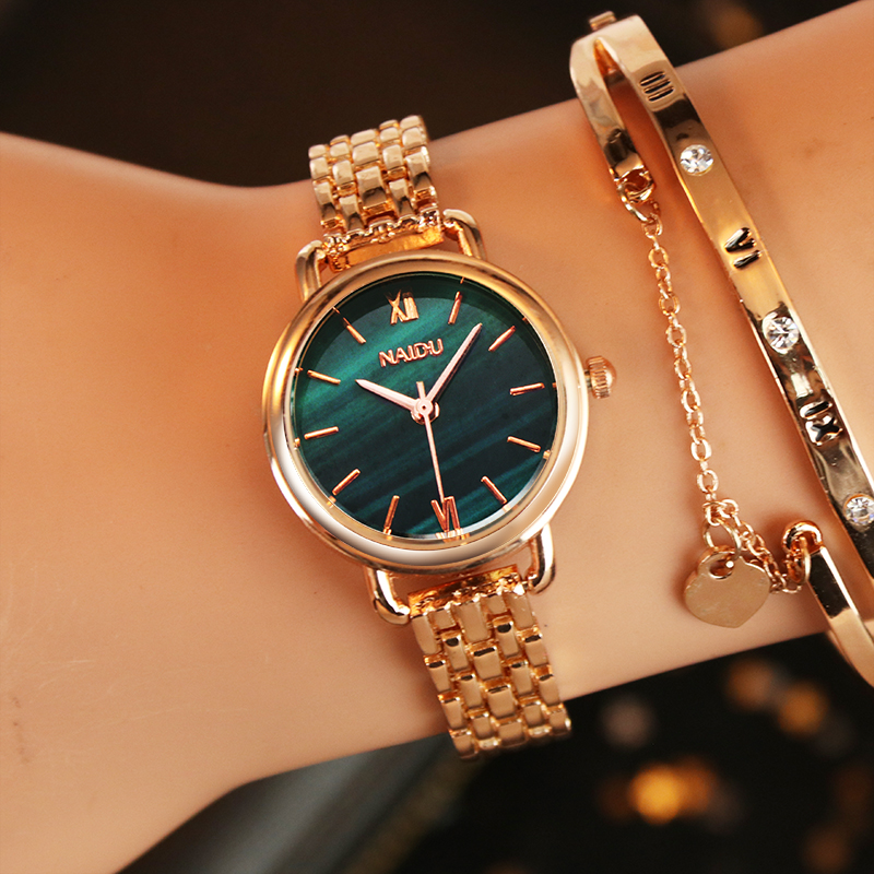 Emerald Printed Women Dress Watch Women's Top Fashion Luxury Brand Crystal Quartz Watches Ladies Gold Stainless Steel Clock