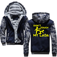 Don't touch my lada Hoodies Men Hooded Wool Winter Thickened Warm Coat Male Sweatshirts Coat Zipper Cardigan Hoody Man Clothing