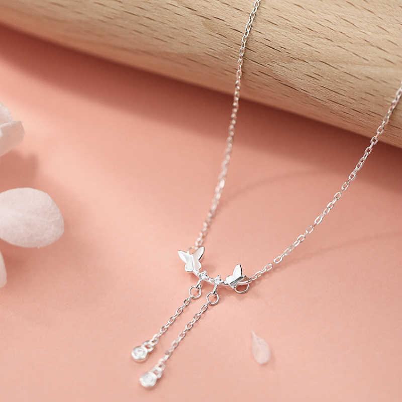 Collar de gargantilla de mariposa doble de plata collar de colgante redondo con borlas largas de circonita brillante 925 para mujer joyería de moda para niña
