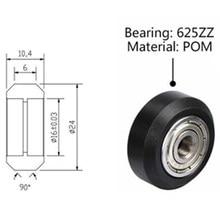 Peças de impressora tronxy 3d rodas pom polias de plástico rolamentos de esferas 625zz uso para 2020 v-slot perfis de alumínio rolamento polia 5 pces Peças de impressora 3d polia de rolamento