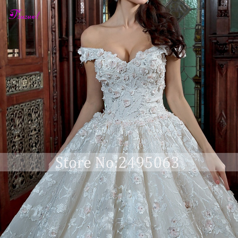 Image 3 - Fsuzwel Elegant Boat Neck Beaded Lace A Line Wedding Dresses 2020 Gorgeous Appliques Chapel Train Vintage Bridal Gown Plus SizeWedding Dresses   -