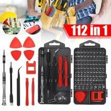 Juego de destornilladores de precisión 112 en 1, Kit de herramientas de reparación DIY, fijación de iPhone, portátil, MacBook, gafas, destornillador pequeño con funda