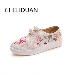 Image 2 - חדש פרחים סיני ישן פקין אביב נעלי נשים מזדמן קנבוס כותנה פרח רקמת מקדחה נעלי גודל 34 43