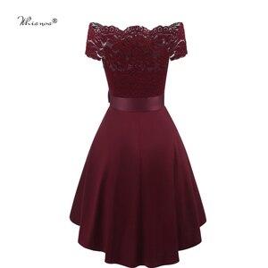 Image 2 - 7 Colors 2020 Short Lace Prom Dress Burgundy Black Zipper Side A Line With Bow Robe De Soiree Party Dress For Plus Size Woman