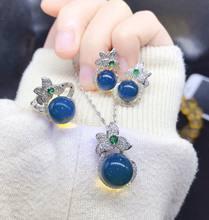 S925 серебро натурального Синий Янтарный камень из трех 1 предмет