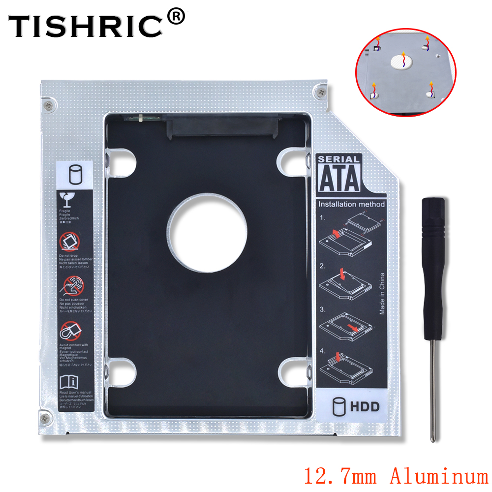 Tishric Aluminum Universal 2nd Hdd Caddy 12.7mm SATA 3.0 Adapter Bay Hard Disk Enclosure For Laptop DVD-ROM CD-ROM Optibay