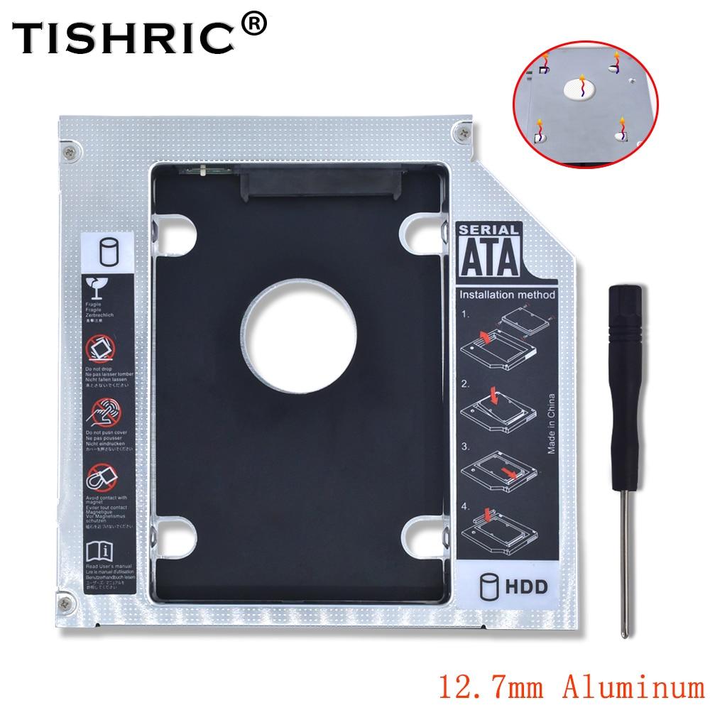 Tishric Aluminum Universal 2nd Hdd Caddy 12.7mm SATA 3.0 Adapter Bay Hard Disk Enclosure For Laptop DVD-ROM CD-ROM Optibay