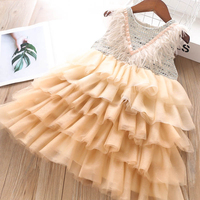 autumn toddler baby girl dress party fashion feathers baby princess dresses kids clothes boutiques korean design