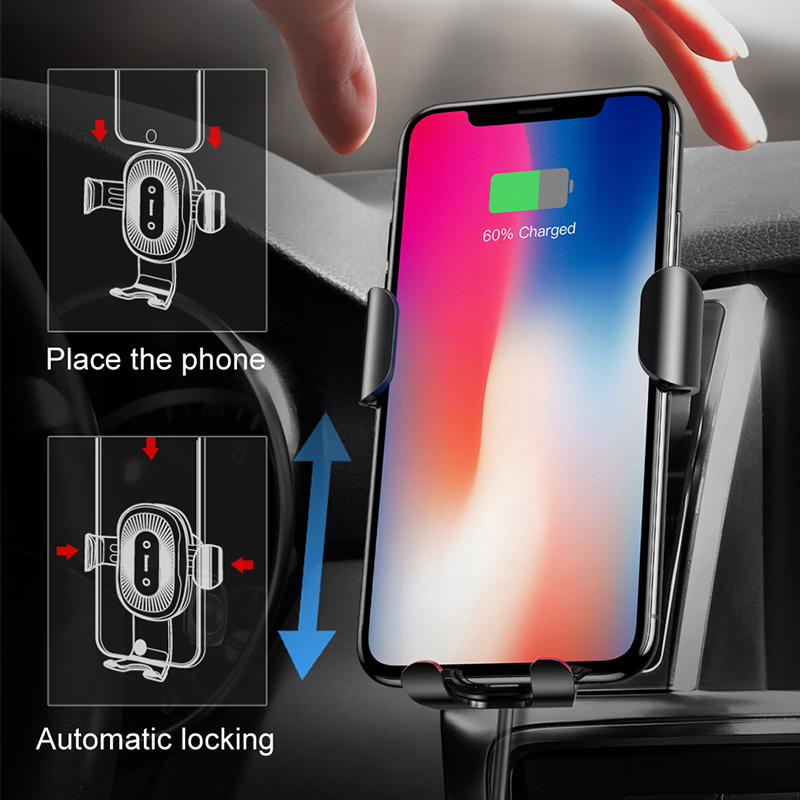 Image 2 - Baseus Qi Support de chargeur voiture  Pour téléphone pour iPhone Samsung Charge rapide, Support monté, sortie dair, Support à gravité 10WSupport universel pour voiture   -