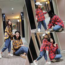 Mom Girl Matching Family Plaid Shirts Spring Autumn Long Sleeve Mother and Daughter Clothes Blouse Outfits