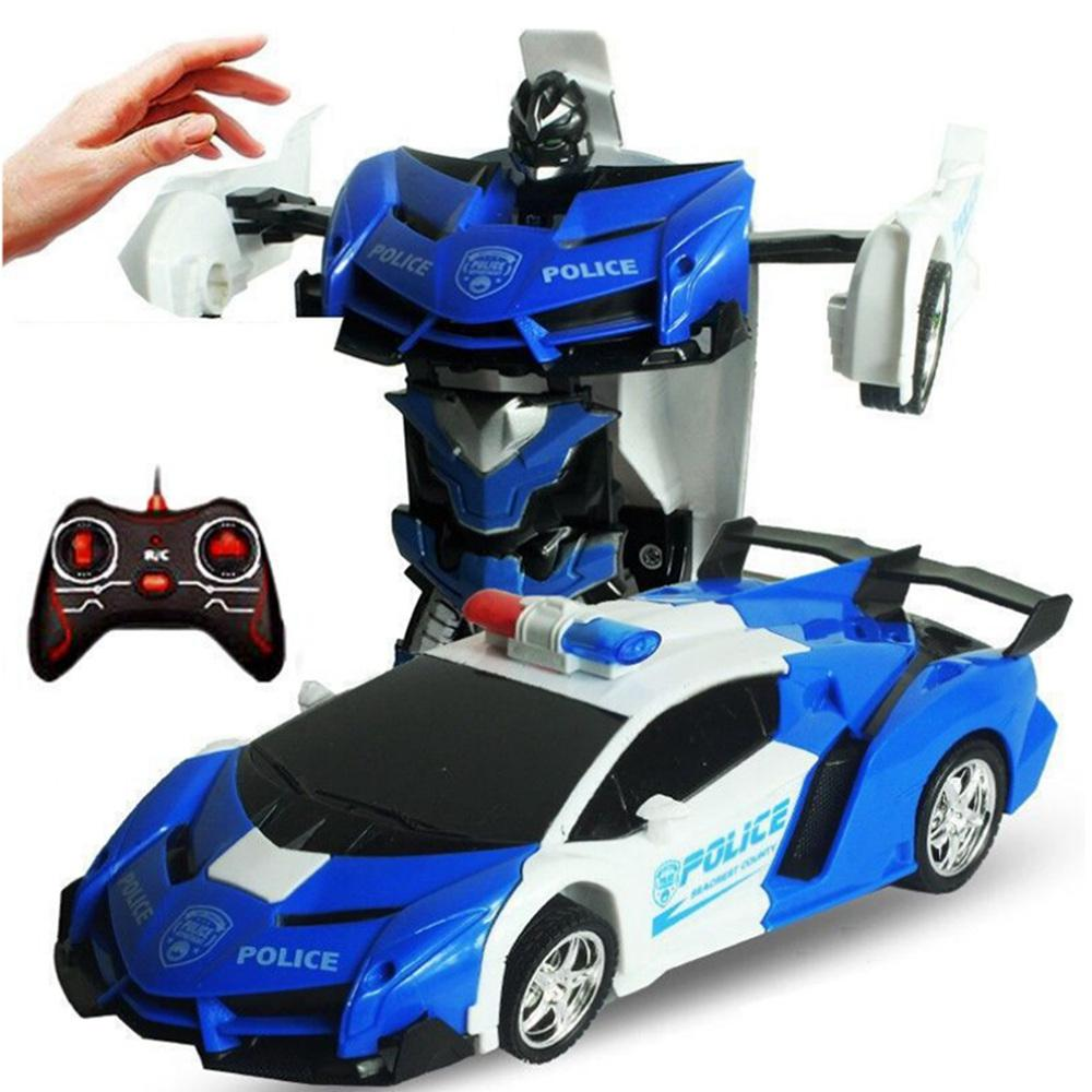 Gesture Sensing Deformation Car Kids Toys 2 In 1 RC Police Toy Car Transformation Robots Sports Vehicle Model Robots Toys Gift