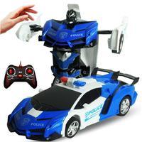 Gesture Sensing Verformung Auto Kinder Spielzeug 2 In 1 RC Polizei Spielzeug Auto Transformation Roboter Sport Fahrzeug Modell Roboter Spielzeug geschenk